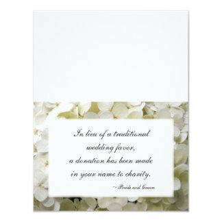 White Hydrangea Flower Wedding Charity Favor Cards