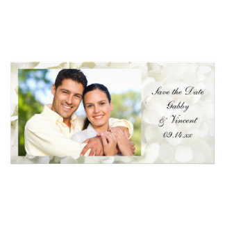 White Hydrangea Flower Wedding Save the Date Photo Card Template