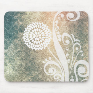 White Hydrangea Flowers Vintage Pattern Mouse Pads