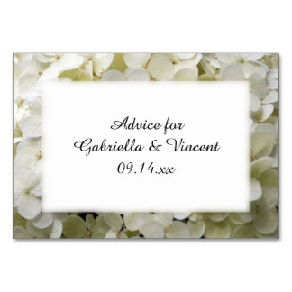 White Hydrangea Flowers Wedding Advice Cards