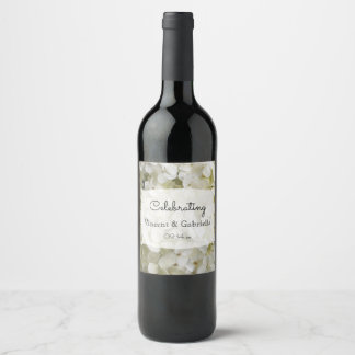 White Hydrangea Flowers Wedding Wine Label