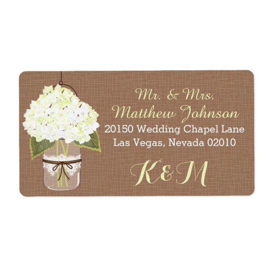 White Hydrangea Mason Jar Rustic Wedding Label