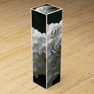 White Hydrangea Monogrammed Wedding Wine Box