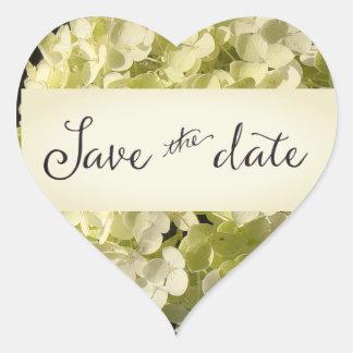 White Hydrangea Save the Date Heart Sticker