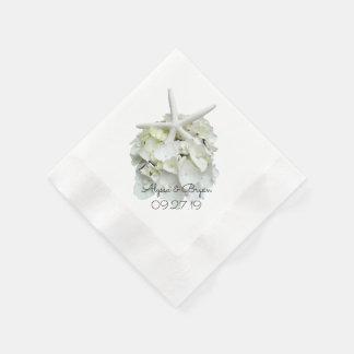 White Hydrangea Starfish Wedding Disposable Napkins
