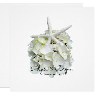 White Hydrangea Starfish Wedding Invitations