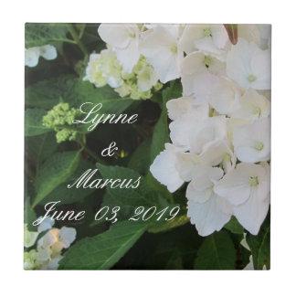 White Hydrangea Wedding Date Keepsake Small Square Tile