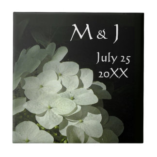 White Hydrangea Wedding Favor Ceramic Tile