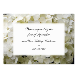 White Hydrangea Wedding RSVP Response Card Large Business Cards (Pack Of 100)