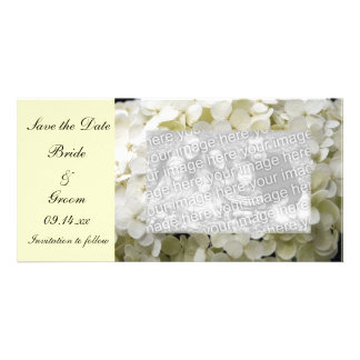 White Hydrangea Wedding Save the Date Photo Card
