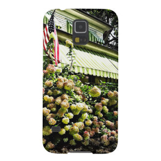 White Hydrangeas By Green Striped Awning Case For Galaxy S5