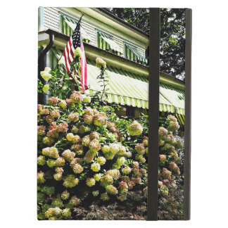 White Hydrangeas By Green Striped Awning Case For iPad Air