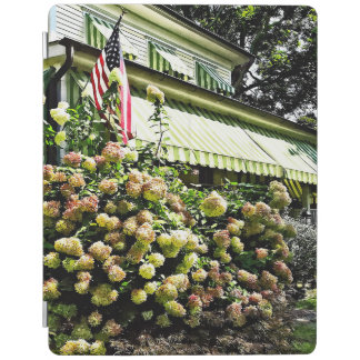 White Hydrangeas By Green Striped Awning iPad Cover