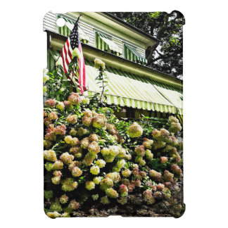 White Hydrangeas By Green Striped Awning iPad Mini Case