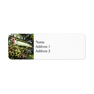 White Hydrangeas By Green Striped Awning Return Address Label