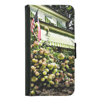 White Hydrangeas By Green Striped Awning Samsung Galaxy S5 Wallet Case