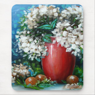 White Hydrangeas with Red Vase Design Mouse Pad