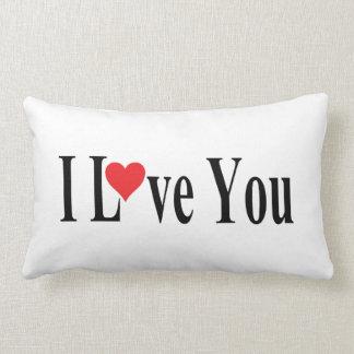 White I Love You Lumbar Cushion
