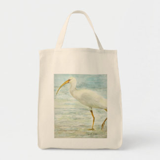 White Ibis on the Shore Beach Watercolor Painting Grocery Tote Bag