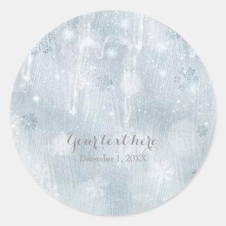 White Ice Snowflakes Winter Wonderland Favor Round Sticker