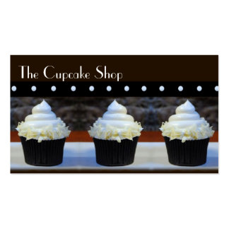 White Icing Cupcakes on Brown Business Cards
