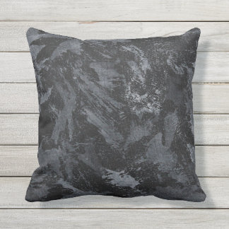 White Ink on Black #2 Outdoor Cushion