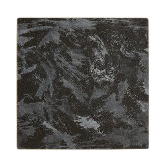 White Ink on Black #2 Wood Coaster