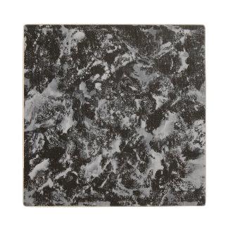 White Ink on Black #4 Wood Coaster