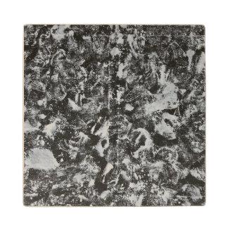 White Ink on Black Background #1 Wood Coaster
