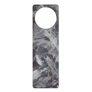 White Ink on Brown and Blue Background Door Hanger