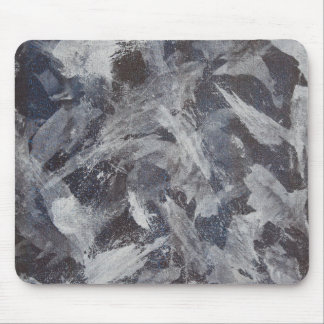 White Ink on Brown and Blue Background Mouse Pad
