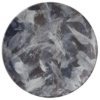White Ink on Brown and Blue Background Porcelain Plates