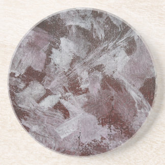 White Ink on Red Background Coaster