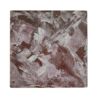 White Ink on Red Background Wood Coaster