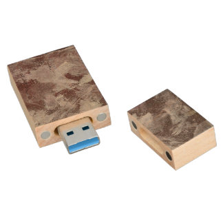 White Ink on Red Background Wood USB 3.0 Flash Drive
