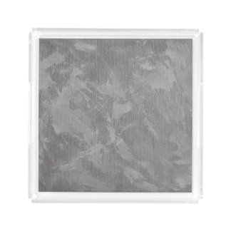 White Ink on Silver Background Acrylic Tray