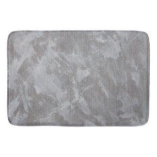 White Ink on Silver Background Bath Mat