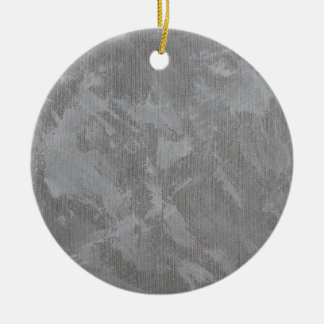 White Ink on Silver Background Ceramic Ornament