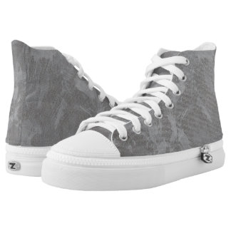 White Ink on Silver Background High Tops