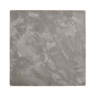 White Ink on Silver Background Wood Coaster