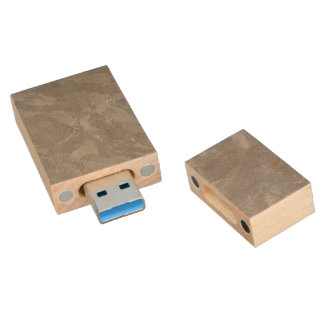 White Ink on Silver Background Wood USB 3.0 Flash Drive