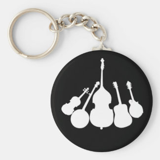 WHITE INSTRUMENTS ON BLACK -KEYCHAIN BASIC ROUND BUTTON KEY RING