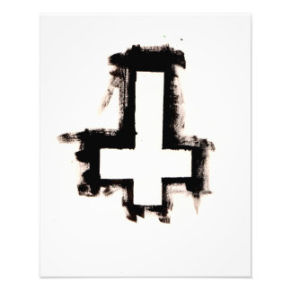 White Inverted Cross Art Print (large)