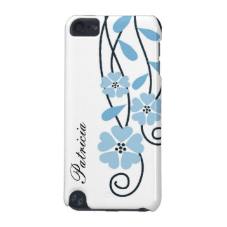 White iPod Touch 4g Case::Blue Flowers iPod Touch (5th Generation) Cover