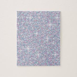 White iridescent glitter jigsaw puzzle