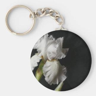 White Iris Rough Painted Keychain
