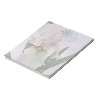 WHITE IRIS WATERCOLOR FLOWER NOTE PAD
