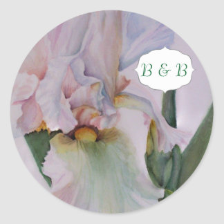 WHITE IRIS WATERCOLOR FLOWER STICKERS