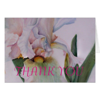 WHITE IRIS WATERCOLOR FLOWER THANK YOU CARD