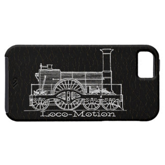 """White """"Iron Horse"""" Train Print 2 on Leather iPhone 5 Covers"""